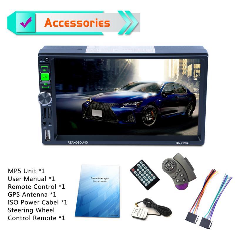 Lecteur multimédia de voiture 7 pouces Port ISO Full HD 1080 P voiture Bluetooth lecteur MP5 GPS navigateur AM/FM/RDS Radio
