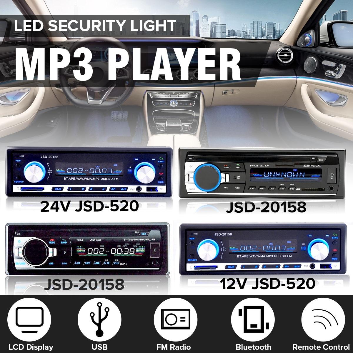 12 V-24 V 1 Din en coche de Radio Bluetooth Auto estéreo de Audio Player soporte de teléfono AUX-IN MP3 FM USB Control remoto
