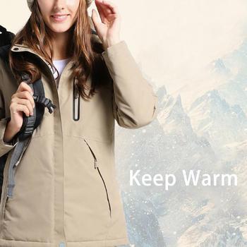 USB Charging One Button Heating Coat Women Winter Intelligent Thermal Heating windbreaker waterproof Outdoor Jacket Cotton