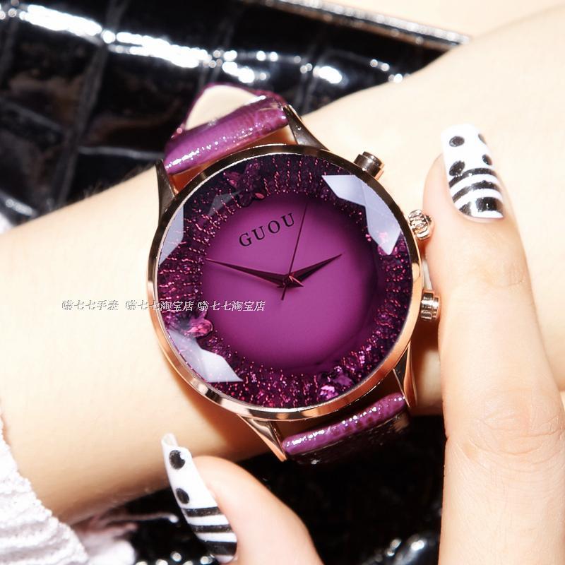 HK GUOU ब्रांड क्वार्ट्ज लेडी घड़ी स्फटिक पनरोक महिलाओं की घड़ी असली लेदर अपस्केल बड़े डायल लक्जरी उपहार कलाई घड़ी