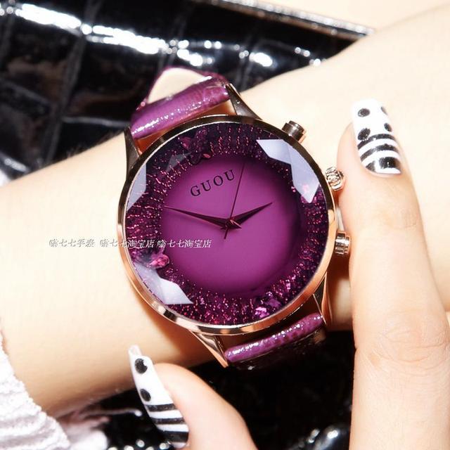 HK GUOU Brand Quartz Lady Watch Rhinestone Waterproof Women's Watch Genuine Leat