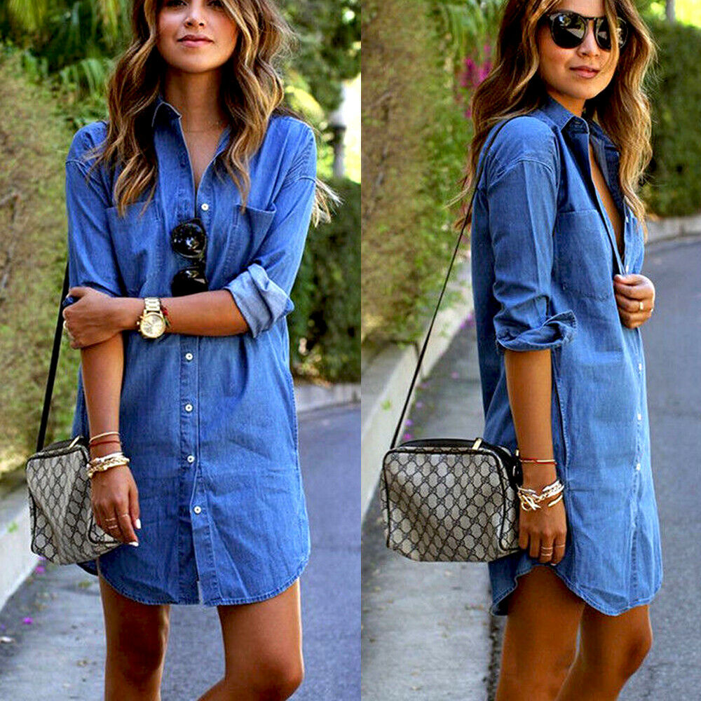 New Women's Autumn Fashion Casual Pocket Long Sleeve Button Loose Denim Dress Ladies Loose Tops Mini Dress Dropshipping Supplier(China)