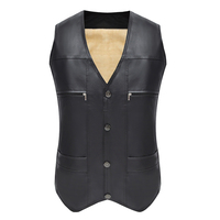 Winter PU Vest Thick Suede Leather Casual Warmer Men's Cotton Black Vests For Father Gift Windproof V Neck Male Vest
