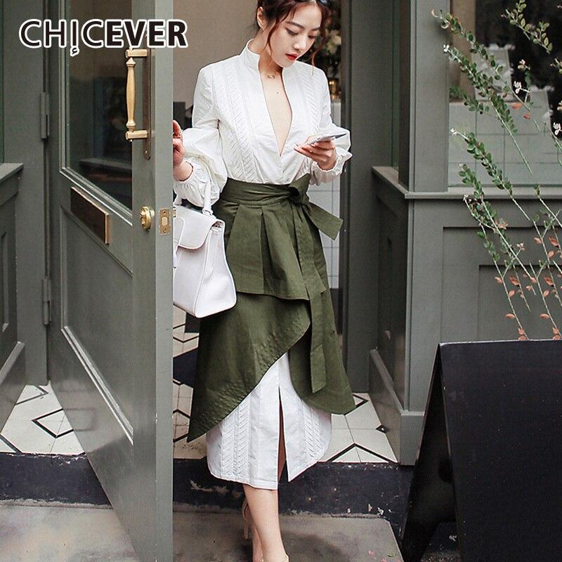 CHICEVER automne deux pièces ensemble femmes costume manches bouffantes chemise blanche avec taille haute irrégulière Midi jupe vêtements mode coréenne