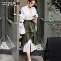 Conjunto de dos piezas de otoño para mujer, camisa blanca de manga Puff con falda Midi irregular de cintura alta, moda coreana