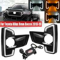 LED DRL For Toyota Hilux Revo Rocco 2018 2019 Styling Daytime Running Light Fog Light Driving Lamp White Yellow Turn Signal