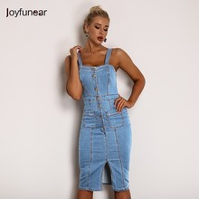 a6db0b89bfa Joyfunear Backless Bodycon Midi Dress Women Summer Vestidos 2019 New Pocket  Button Jeans Dress Sexy Split
