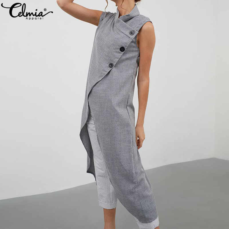 c2a11531343493 Celmia Summer Sleeveless Long Blouses Women Plus Size Asymmetrical Tops  2019 Sexy High Split Buttons Casual