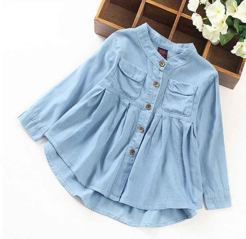 f3743175e30 4-12Years Toddler Kid Baby Girls Denim Ruched Long Sleeve T-Shirt Tops  Blouse