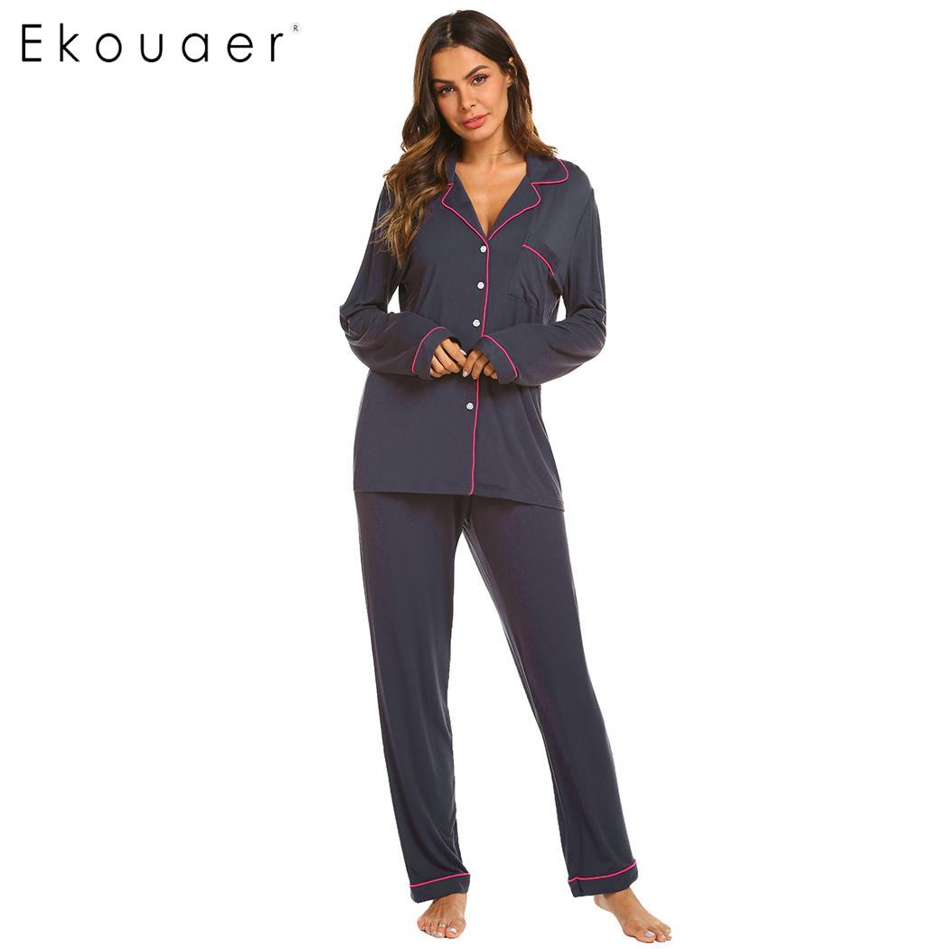 Ekouaer Pajamas Women's Long Sleeve Sleepwear Soft Pyjamas Set Female Sleep Two Piece Set Loungewear Home Pajama Suit XS-XXL