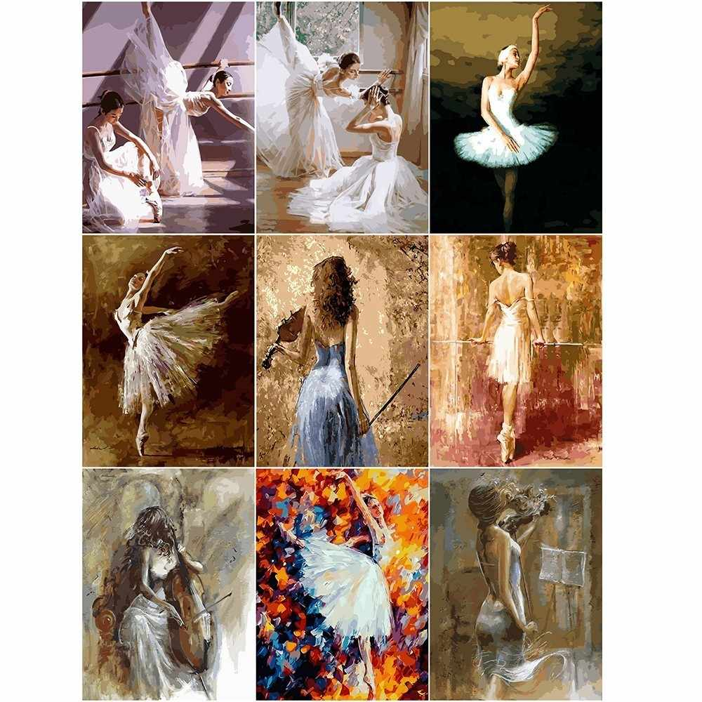 AZQSD Painting By Numbers Paint Ballet Dancer DIY Canvas Picture Hand Painted Oil Painting Music Girl Home Decoration