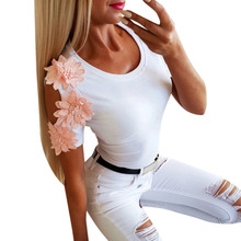T Shirt Women Funny Korean Clothes Floral Appliques Embroidered Short Sleeves Hollow Out White T-shirt Tops distressed floral embroidered mini t shirt dress