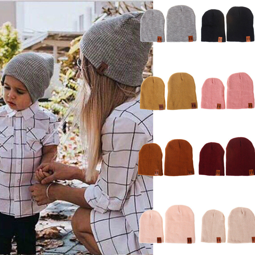 New Family Cap Matching Winter Baby Kids Dad Mom Knitted Crochet Beanie Warm Hat Cap