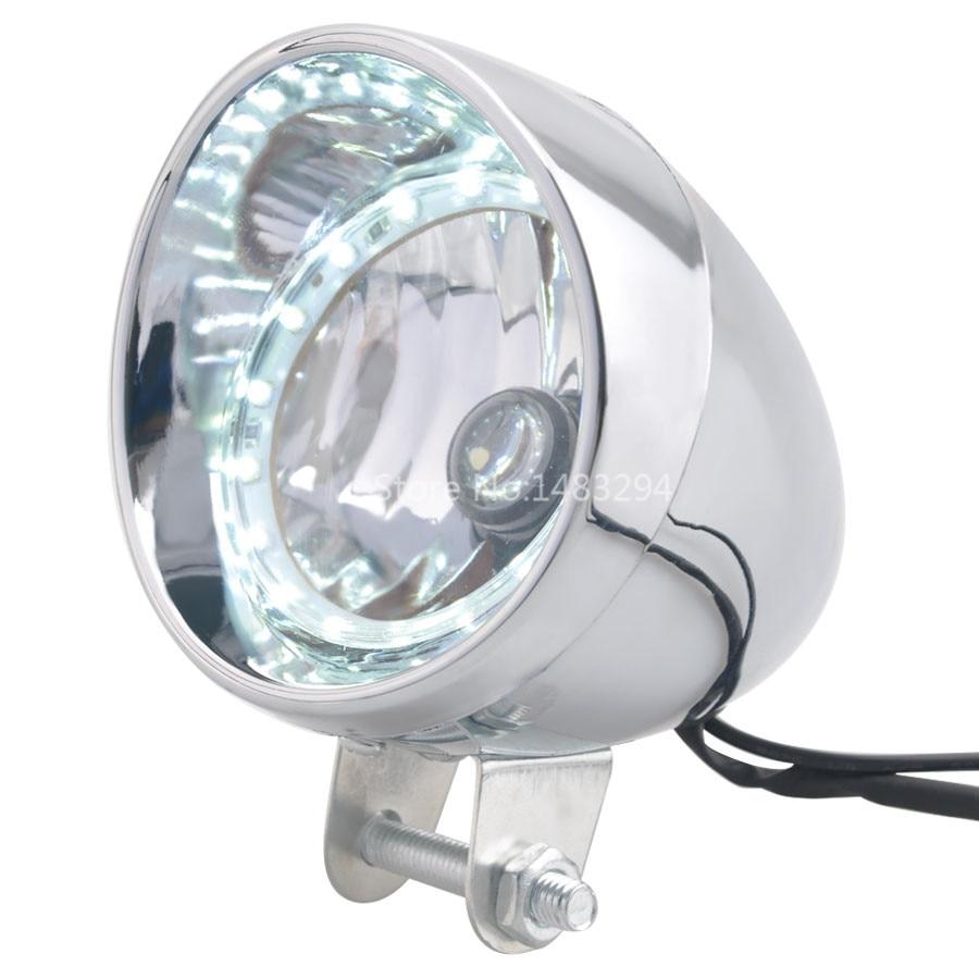 Motorcycle Chrome Bullet LED Headlight Passing Spot Fog Lamp White Angel Eyes Ring For Harley Honda Yamaha