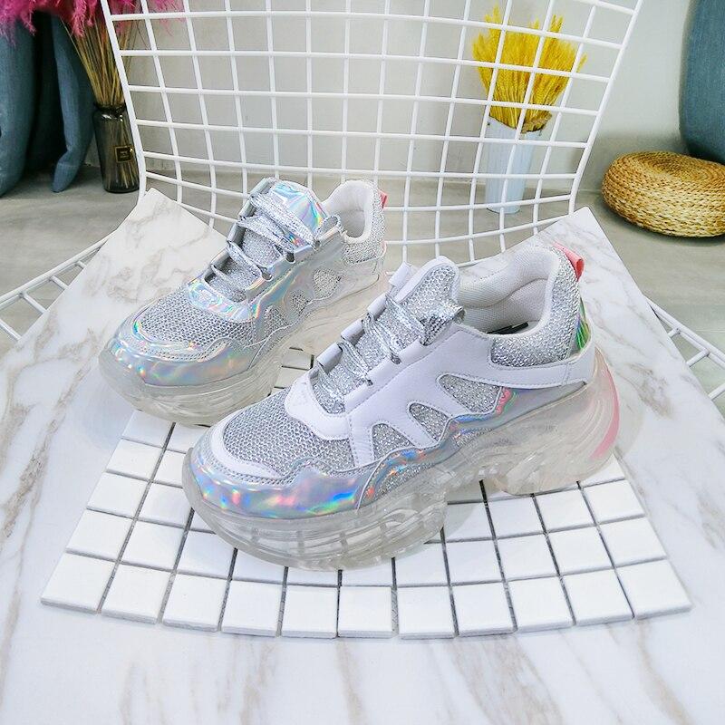 Unique Rond De Lacets Femmes Printemps Confortable Chaussures Silver Maille Mode Décontracté 10sj329 white Marée À deat2019 Bout D'été Nouveau Plates Sport doerBCx