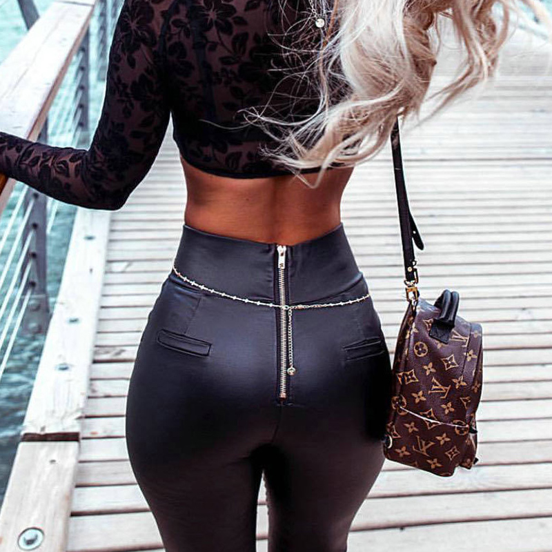 Women High Waist Skinny Pencil Pants Back Zipper Leather -9369