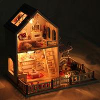 3D Wooden Craft Doll House Furniture Set DIY Miniature Dust Cover Dollhouse for Barbie Doll Toys for Children Christmas Gift