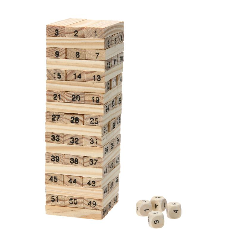 Wooden Domino Blocks Building Game Children Wood 54 Stacker Extract Building Block Toy with 4pcs Dice