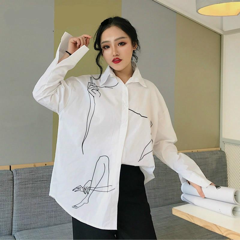 Blusa Suelto Mujeres Casual De Y Vadim White Dibujo A Tops Las Moda Damas Camisa Mujer A489 Mano Primavera Blusas Tallas Grandes Blanco 2018 qxg7OCvwt