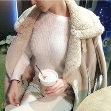 New Arrival Female Turn-Down Collar Suede Outerwear Women Faux Fur Thicken Jacket Winter Pockets Warm Sheepskin Coats