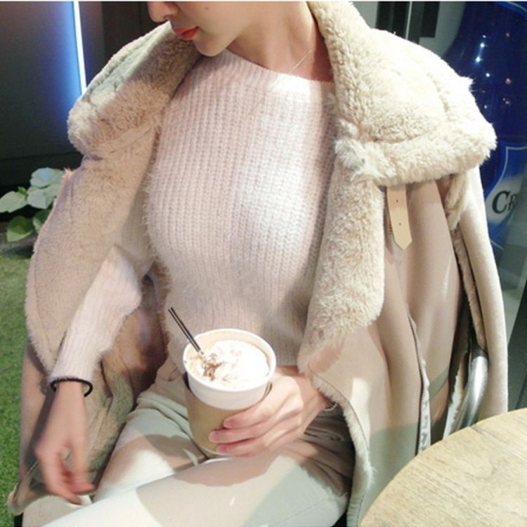 New Arrival Female Turn Down Collar Suede Outerwear Women Faux Fur Thicken Jacket Winter Pockets Warm Sheepskin Coats