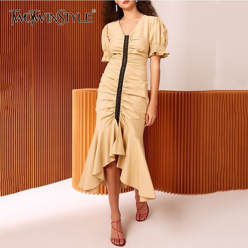 TWOTWINSTYLE Womens Dresses V Neck Puff Short Sleeve Tunic Irregular Mermaid Dress Female 2019 Spring Elegant