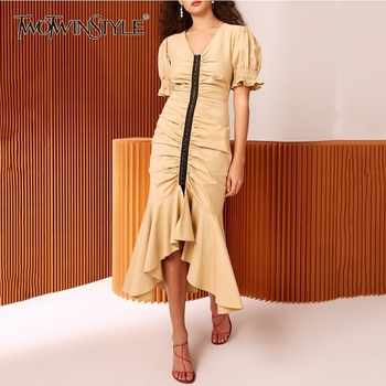 TWOTWINSTYLE Womens Dresses V Neck Puff Short Sleeve Tunic Irregular Mermaid Dress Female 2019 Spring Elegant Fashion Clothes - DISCOUNT ITEM  39% OFF All Category