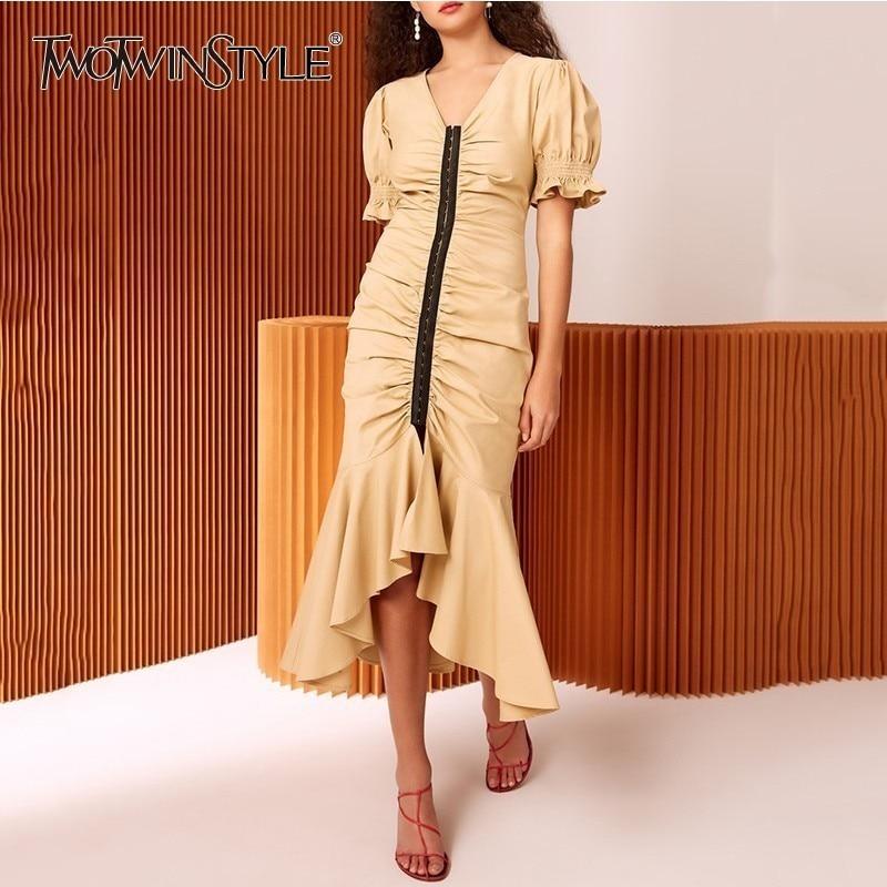 TWOTWINSTYLE Womens Dresses V Neck Puff Short Sleeve Tunic Irregular Mermaid Dress Female 2020 Spring Elegant Fashion Clothes