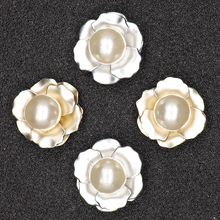10pcs Flower Buttons Scrapbooking Craft Rhinestone Sewing Vintage Gold Diy Handicraft Accessories