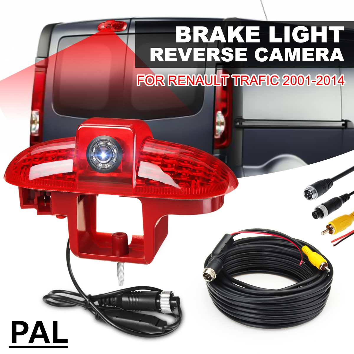 PAL Car Brake Led Light Lamp Reverse Rear View Backup Parking Night Vision Waterproof Camera For Renault Trafic 2001 - 2014
