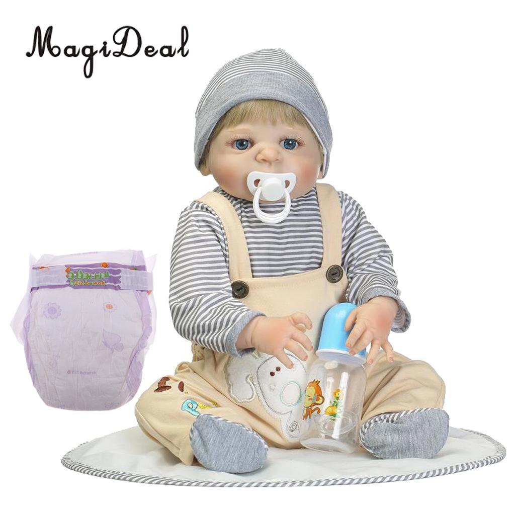 22inch Realistic Full Silicone Vinyl Body Boy Doll Reborn Infant Doll Newborn American Baby Dolls With Nursing Accessories22inch Realistic Full Silicone Vinyl Body Boy Doll Reborn Infant Doll Newborn American Baby Dolls With Nursing Accessories