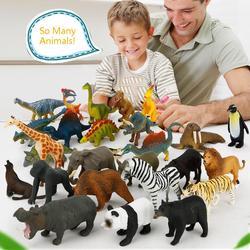 12 шт./компл. Пластик из зооппарка рисунок тигра с леопардовым принтом бегемот жираф детские игрушки милые игрушечные животные подарочный на...