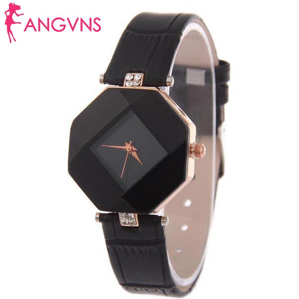 Women Watches Gem Cut Geometry Crystal Leather Quartz Wristwatch Fashion Watch Clock Relogio Feminino Ladies Gifts