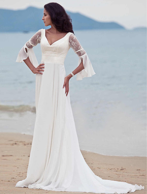 2019 נשים חוף שמלה לבנה תחרה ללא שרוולים קו ארוך שמלה אלגנטי