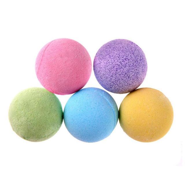 5 piezas de baño sal bola cuerpo blanqueamiento de la piel alivio del estrés burbuja Natural bomba de ducha bola limpiador de cuerpo esencial aceite de Spa