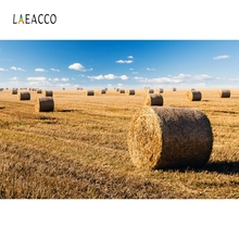 Laeacco Rural Farm Harvest Haybales Blue Sky Photography Backgrounds Customized Photographic Backdrops For Photo Studio