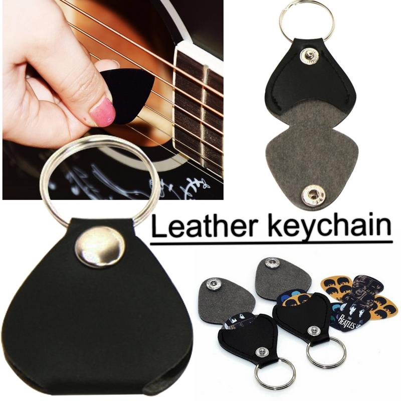 2018 new arrival keychain type guitar pick box high quality leather guitar pick dial case. Black Bedroom Furniture Sets. Home Design Ideas