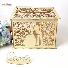 DIY Wedding Wooden Money Box With Lock Party Decor Keepsake Gift Secure Card Holder Container Decoration