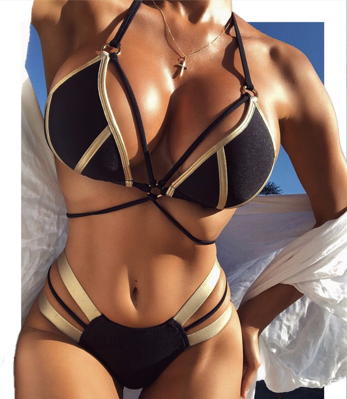 Hirigin 2019 Bikini Set Bandage Women Swimwear Summer Push Up Padded Halter Swimsuit Beach Women Biquini Bathing Suit Monokini