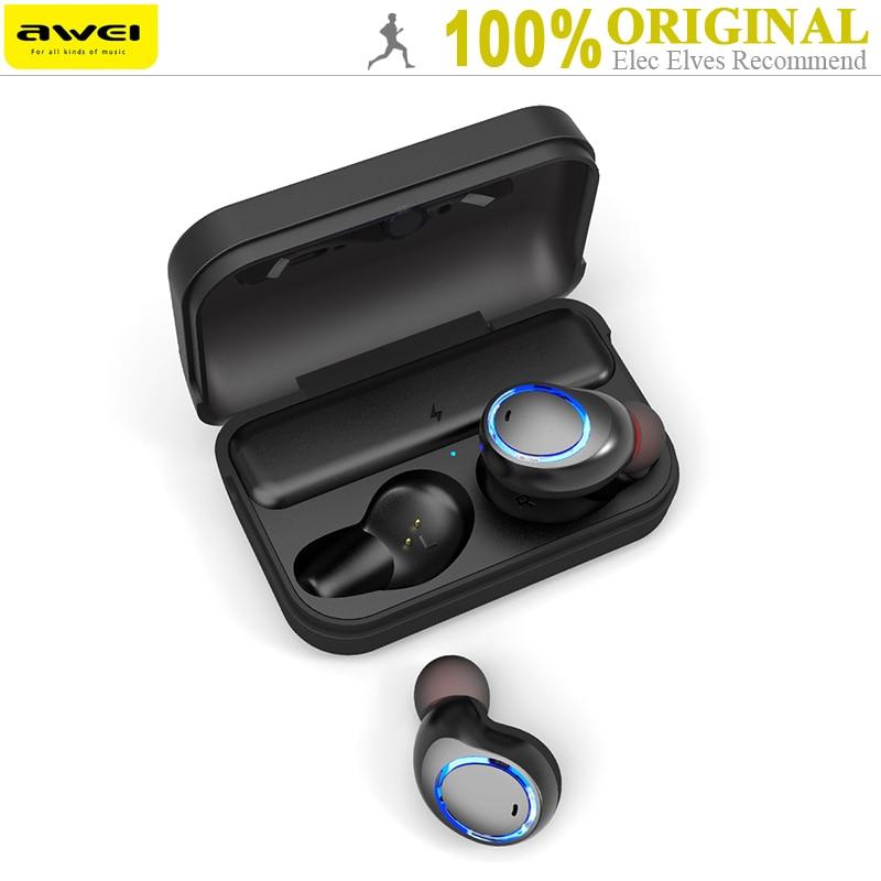 Original Awei T3 TWS Binaurale Bluetooth Kopfhörer Wireless In-Ear Stereo Earbuds Mit Mic Und Lade Dock