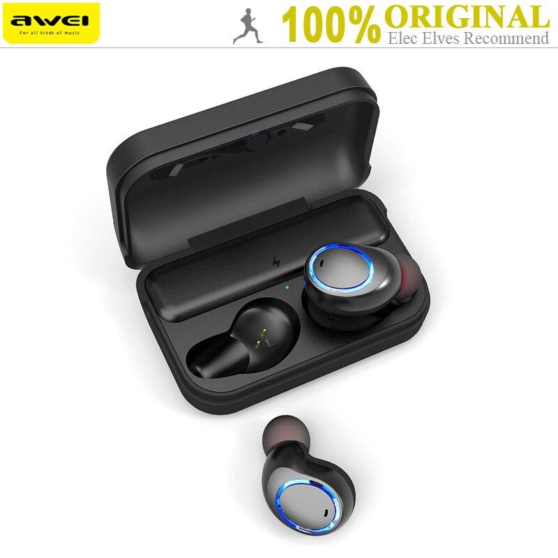 Originale Awei T3 TWS Binaurale Auricolari Bluetooth Senza Fili In-Ear Auricolari Stereo Con Il Mic E Dock di Ricarica