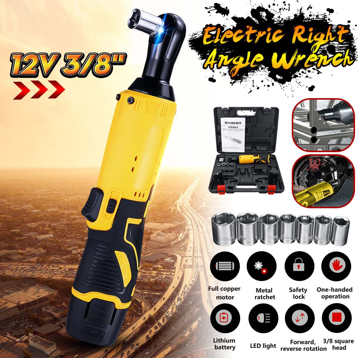 12V Electric Wrench LED Kit 3/8 Cordless Ratchet Wrench Rechargeable Scaffolding 45NM Torque Ratchet Wrench tool set12V Electric Wrench LED Kit 3/8 Cordless Ratchet Wrench Rechargeable Scaffolding 45NM Torque Ratchet Wrench tool set