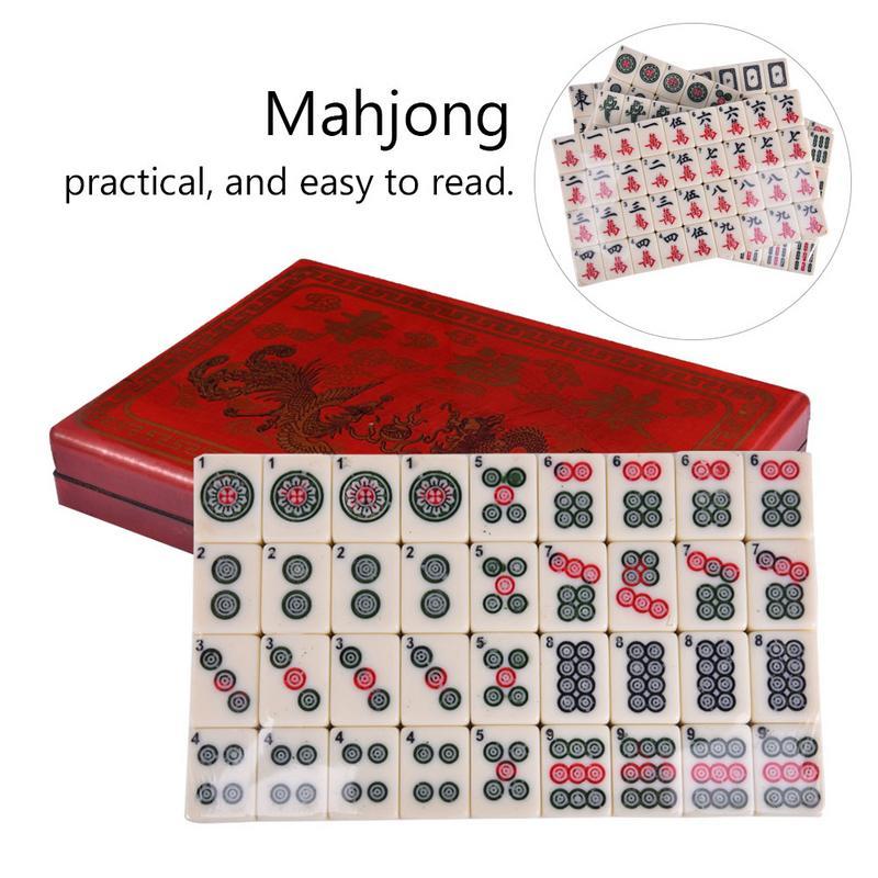 Ensemble de Mahjong anglais de qualité supérieure jeux de cartes Mah-Jong ensemble multi-couleur Portable Vintage Rare jouet chinois Mahjong