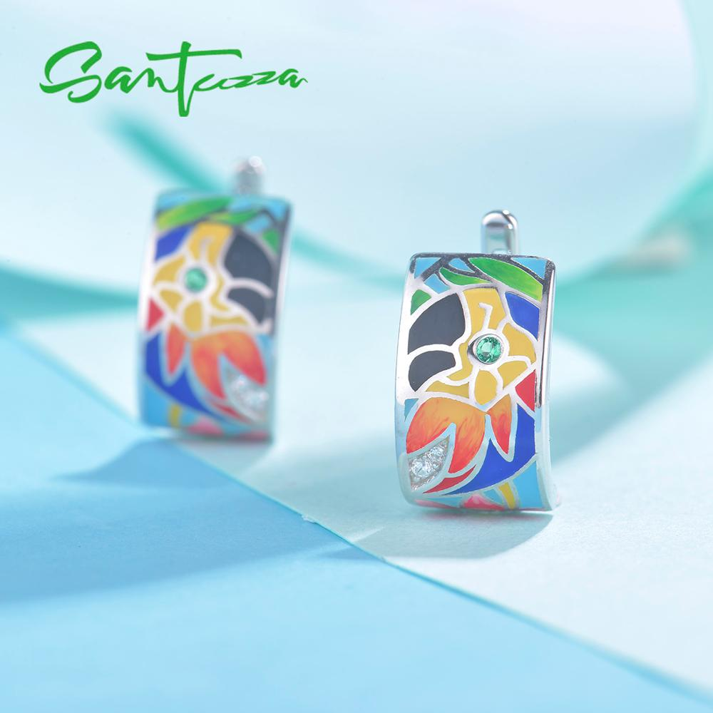 SANTUZZA Jewelry Set For Women Pure 925 Sterling Silver HANDMADE Colorful Enamel Parrot Ring Earring Pendant Fashion Jewelry Set in Jewelry Sets from Jewelry Accessories