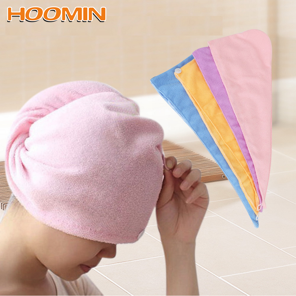 Superfine Fiber Fabrics Bath Cap Quickly Dry Hair Hat Wrapped Towel Microfiber Solid Hair Turban Bathroom Accessories