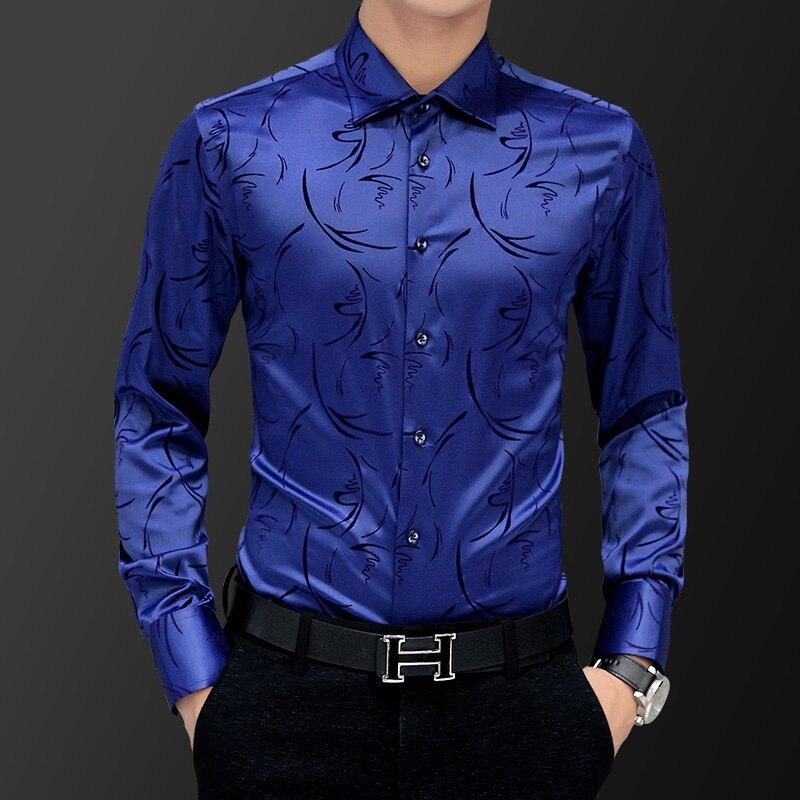 Korean Fashion Style Men's Shirt Wedding Party Dress Long Sleeve Vintage Shirt Silk Tuxedo Top Chemise Male Cotton Shirt White