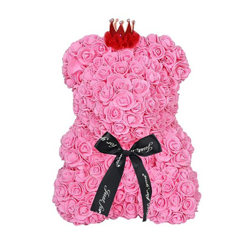Artificial & Dried Flowers Strong-Willed 25cm Bear Of Roses Flowers Teddy Bear With Crown Wedding Festival Diy Surprise Wedding Gift For Girl Lover Festive & Party Supplies