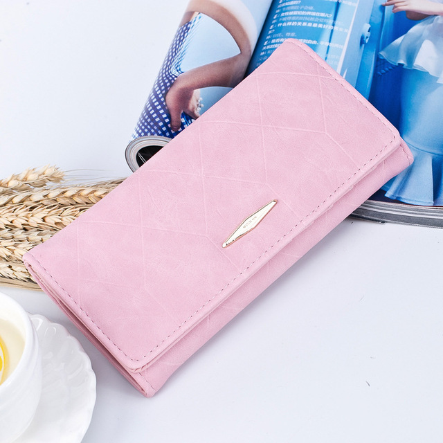 47a3b5bb21a0 BOTUSI New Fashion Ling Grid Embossed Wallet Purse Women Ladies Clutch Long  Purse Female Hasp Wallet Coin Purse Card Holder