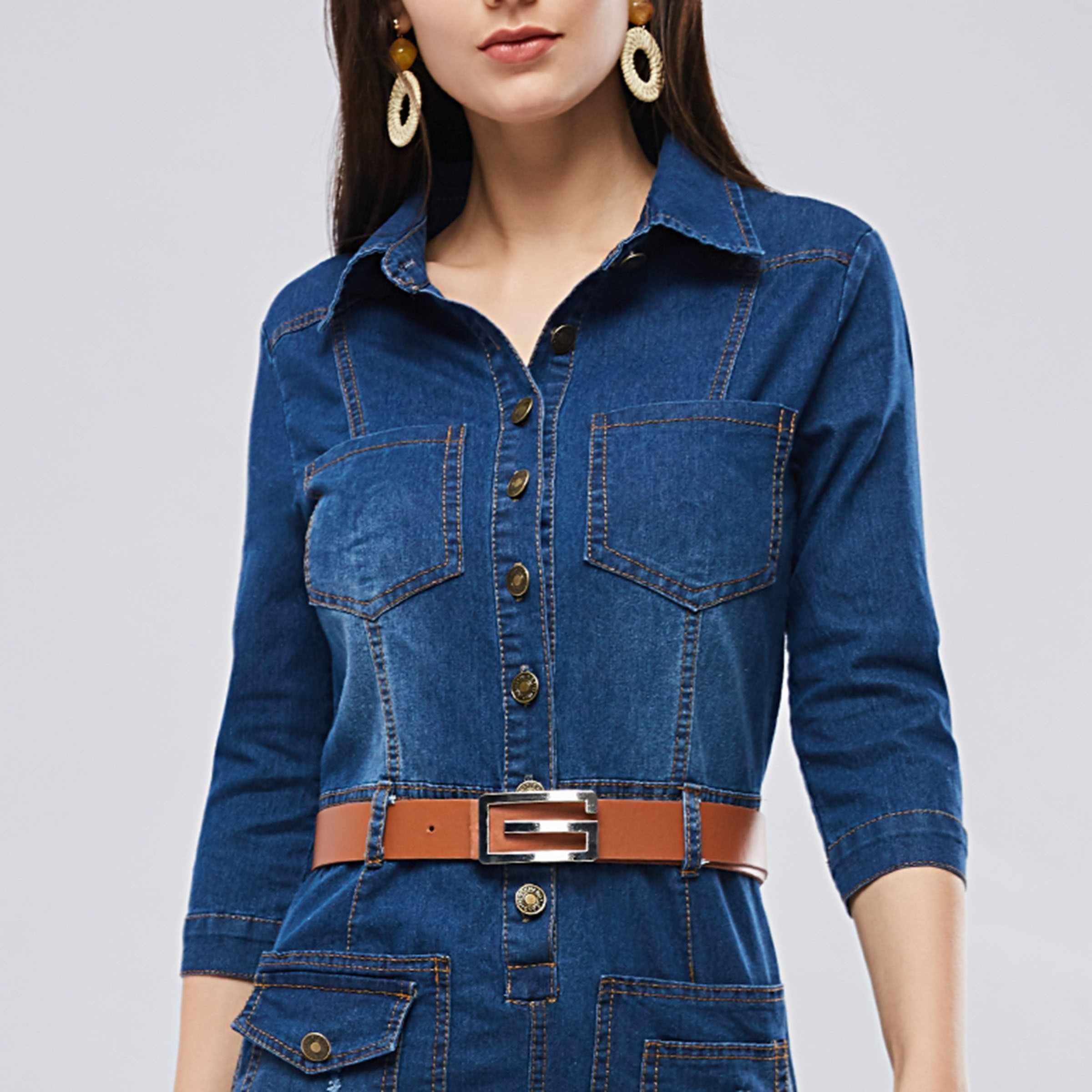 3cf783ba93d ... Sisjuly Women Spring Summer Dark Navy Blue Denim Shirt Dress Office  Lady Work Lapel Button Pocket