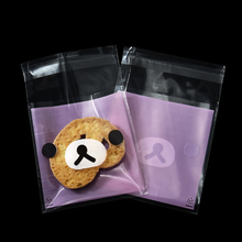 500 pieces 7*10cm Cookie Bag Candy Package Bags Self Adhesive Biscuit Storage Plastic Packaging Pouches for Party